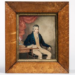 American School, Early 19th Century      Portrait of a Man Seated at a Desk