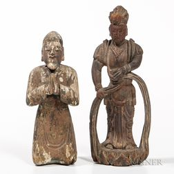 Two Painted Wood Figures