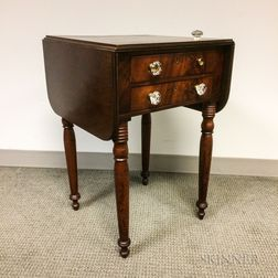 Late Federal Mahogany Two-drawer Drop-leaf Worktable