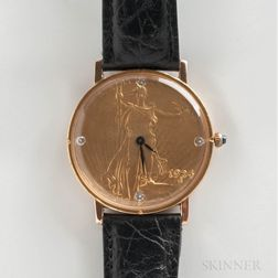 Rodania Liberty 1924 Gold Coin Quartz Wristwatch