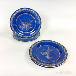 Four Wedgwood Powder Blue Bird-decorated Ceramic Cabinet Plates