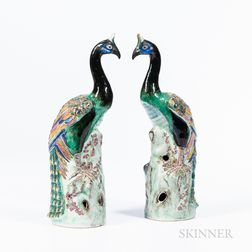 Pair of Enameled Porcelain Peacocks
