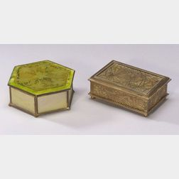 Tiffany Studios Gilt Bronze and Caramel Slag Glass Pine Needle Pattern Box and a Tiffany Furnaces Hexagonal Gilt Bronze, Favrile, and A