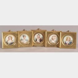 Set of Twelve French Gilt Metal Framed Portrait Miniatures