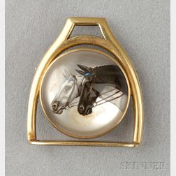14kt Gold Reverse-painted Crystal Brooch