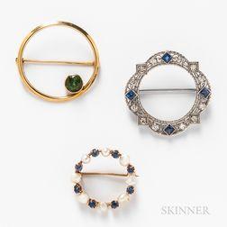 Three 14kt Gold Circle Pins