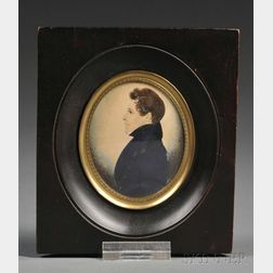 Attributed to James H. Gillespie (British/American, 1793-after 1849)      Profile Portrait Miniature of a Young Man.