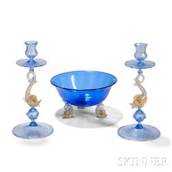 Venetian Glass Candlesticks and Center Bowl