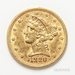 1880 $5 Liberty Head Gold Coin