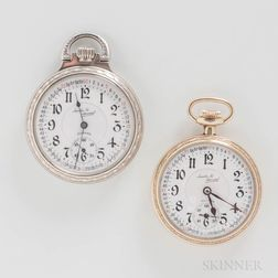 """Two Illinois Watch Co. """"Santa Fe Special"""" Open-face Watches"""