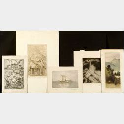 Lot of Eleven Miscellaneous Prints:  Vera Andrus (American, 1896-1979), Shore Motifs