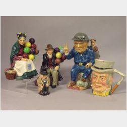 Three Royal Doulton Figural Items, a Kevin Francis Toby Jug, and a Sandland   Ceramic Character Jug