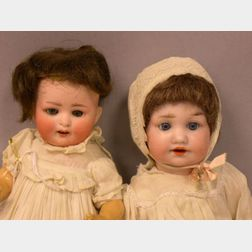 Two Small German Bisque Socket Head Baby Dolls