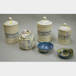 Three Reproduction Dedham Pottery Canisters and Cabbage-form Jar with Rabbits and a Dorchester Pottery Bowl and...