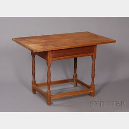 William & Mary Turned Cherry Tavern Table with Drawer