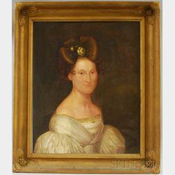 Jeremiah Hardy (American, 1800-1887) Oil on Board Portrait of Elizabeth Eloise   Wise (1808-1833)