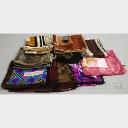 Ten Mostly Designer Silk Scarves
