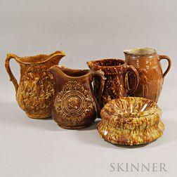 Five Mostly Rockingham-glazed Stoneware Vessels