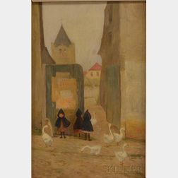 Louis Doyle Norton (American,  (1867/68-1940)      Three Little Waifs with Geese at a Village Corner.