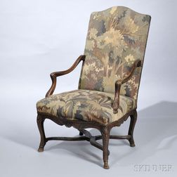 Louis XIV Tapestry-covered Carved Armchair