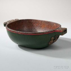 Scandinavian Painted and Carved Birch Ale Bowl