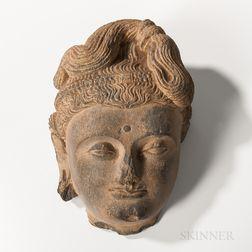 Gandharan Gray Schist Bodhisattva Head