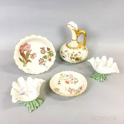 Five Pieces of Royal Worcester Porcelain Tableware