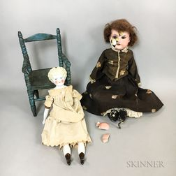 Blonde China Shoulder Head Doll and Chair