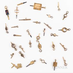 Thirty-one Gilt Watch Keys