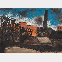 József Nemes Lampérth (Hungarian, 1891-1924)      Factory Landscape