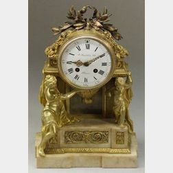 French Louis XVI-style Gilt Bronze and Marble Mounted Mantel Clock