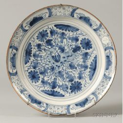 Hispano-Moresque Blue and White Earthenware Charger