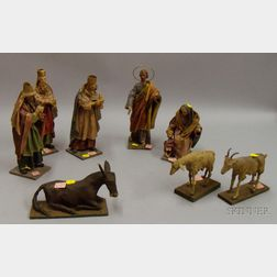 Eight Creche Figurines