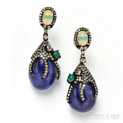 Tanzanite, Opal, Emerald, and Diamond Earpendants