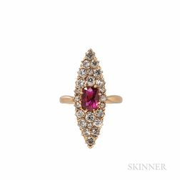 Antique Ruby and Diamond Navette Ring