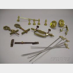 Approximately Thirteen Pieces of Assorted Architectural Metal Hardware and Utensils
