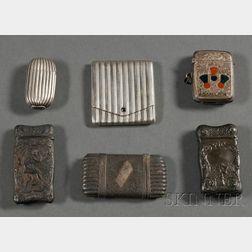 Six Silver Matchsafes