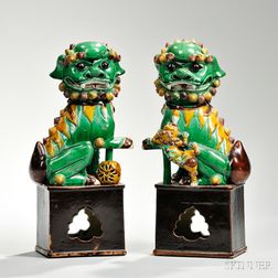 Pair of Sancai-style Shishi   Lions