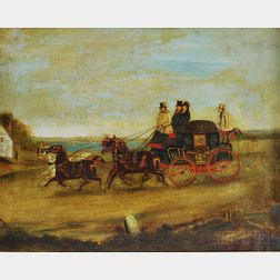 British School, 19th Century      Coaching Scene: Dover to London, Royal Mail Coach