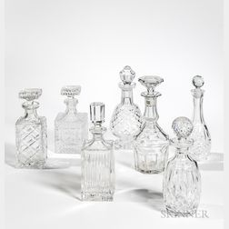 Seven Crystal Decanters, late 20th century, of varied forms, including two marked Waterford, ht. to 12 in.