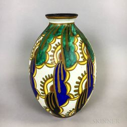 French Art Deco Polychrome Ceramic Vase