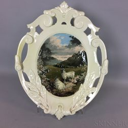 Glazed Ceramic Hanging Plaque of a Landscape with Sheep