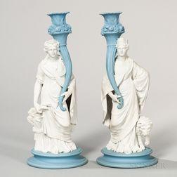 Pair of Wedgwood Jasper Figural Candlesticks
