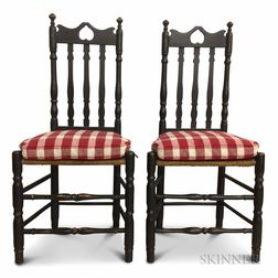 Pair of Black-painted Bannister-back Chairs with Inverted Heart Crests