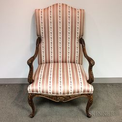 French Provincial-style Carved and Upholstered Walnut Fauteuil