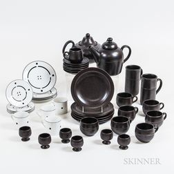 "Twelve Swid Powell ""Tuxedo"" and Twenty-nine Hoganas Teaware Items.     Estimate $100-150"
