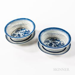 Near Pair of Large Canton Pattern Chinese Export Porcelain Reticulated Fruit Bowls and Underplates