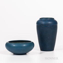 Rookwood Pottery Blue Matte Vase and Bowl
