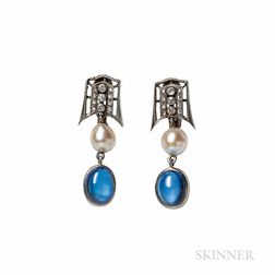 Synthetic Sapphire and Cultured Pearl Earrings