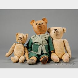 Three Blonde Mohair Teddy Bears